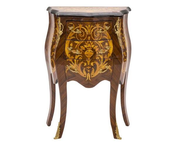 Antica Soffitta: Comodino ovale legno mogano 3 cassetti